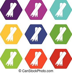 varas canela, ícone, jogo, cor, hexahedron