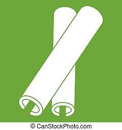 varas canela, ícone, verde