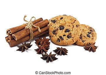 varas canela, anis, estrelas, e, chocolate lasca, biscoitos