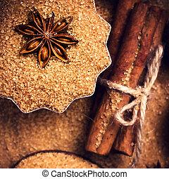 varas canela, e, anis estrela, ligado, açúcar marrom
