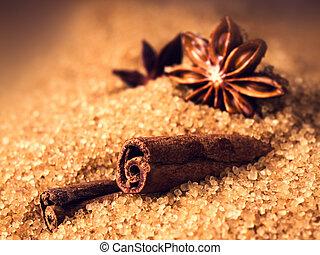 varas canela, e, anis estrela, ligado, açúcar marrom, macro