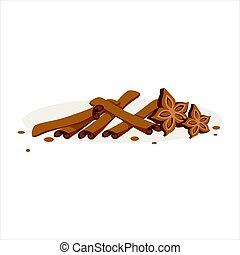 varas canela, e, estrelas, de, anis, ingredientes assando, vetorial, ilustração