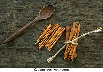 varas canela, ligado, madeira, fundo
