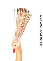 varas, homenagem, embrear, incenso, iluminado, mãos, orando