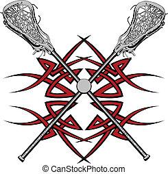 varas lacrosse, vetorial, gráfico