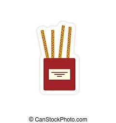 varas queijo, adesivo, papel, fundo, elegante, branca