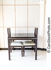 vardagsrum, dekoration, bord, stol, tom