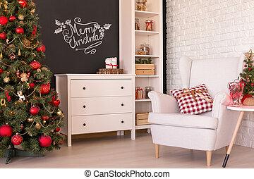 Dekorerat, rum, jul. Vacker, vardagsrum, jul., dekorerat ...