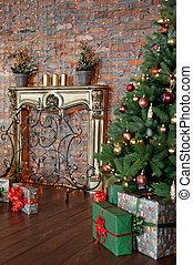 vardagsrum, gåva, träd, rutor, dekorerat, jul