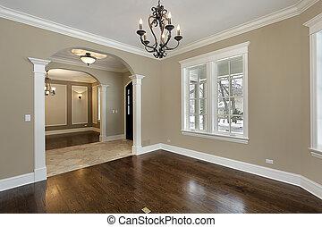vardagsrum, in, färsk, konstruktion, hem