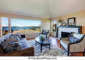 vardagsrum, möblera, förbluffande, fönster, rik, synhåll