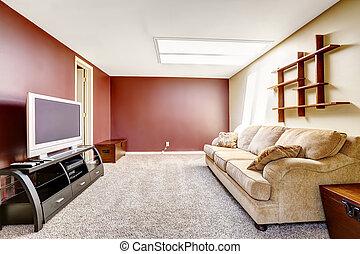 vardagsrum, med, kontrast, färg, väggar