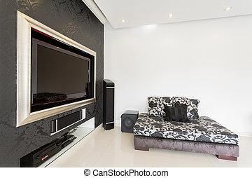 vardagsrum, med, plasma television