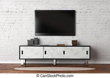 vardagsrum, med, tom, television övervaka