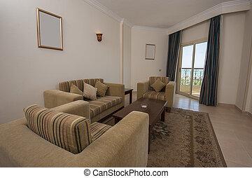 vardagsrum, område, av, hotell våning, rum