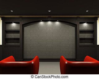 vardagsrum, stol, emty, vägg, plats, röd