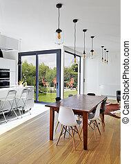 vardagsrum, stol, lyxvara, bord, tom