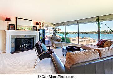vardagsrum, stort, windows., vatten, eldstad, synhåll