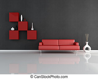 vardagsrum, svart röd