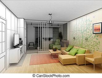 vardagsrum, synhåll, arkitektur, inre, landskap, 3