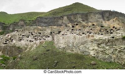 Vardzia, Georgia. An ancient city in the rock. Time Lapse