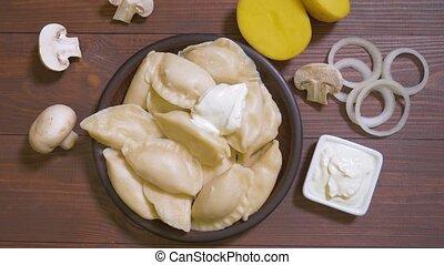 Varenyky, vareniki dumplings stuffed with potatoes - Boiled ...