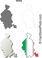 Varese blank detailed outline map set - Varese province...