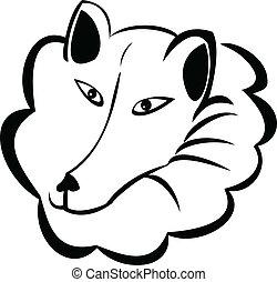 varg, eller, snö, hund, logo