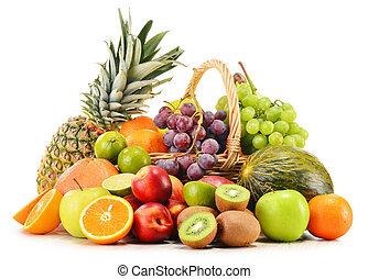 variété, osier, isolé, fruits, panier, blanc