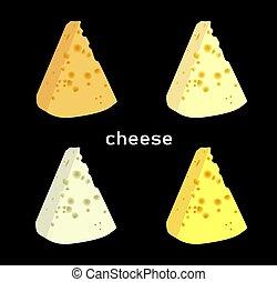 variétés, cheese., illustration.., moderne, mieux, élégant, slices., vecteur, fromage