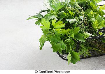 variëteit, groene, culinair, herbs., mand, fris