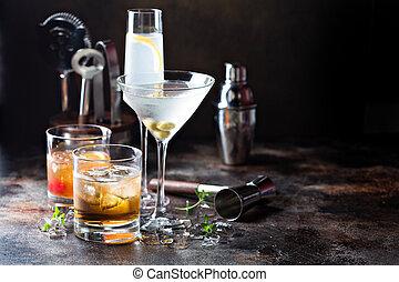 variëteit, van, alcoholhoudend, cocktails