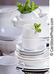 variëteit, van, witte , dinnerware