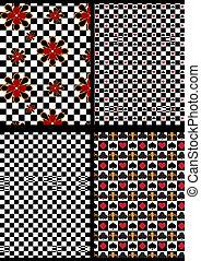 variações, preto branco, checkere