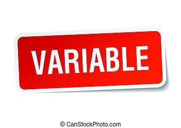 variable, pegatina, cuadrado, blanco