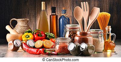 variado, alimento, utensilios, productos, composición,...