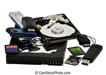 variado, almacenamiento, dispositivos, digital