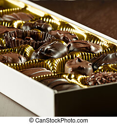variado, caja, de, chocolates.