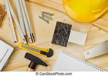 variado, carpintería, construcción, herramientas, o, ...