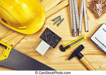 variado, carpintería, construcción, herramientas, o,...
