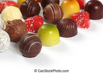 variado, chocolates, blanco