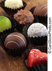 variado, chocolates, en, envolturas