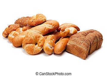 variado, clases, de, panes, en, un, fondo blanco