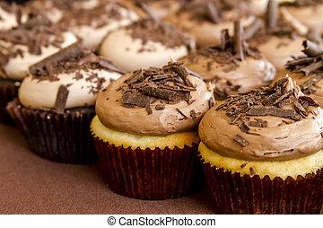 variado, cupcakes, en la exhibición