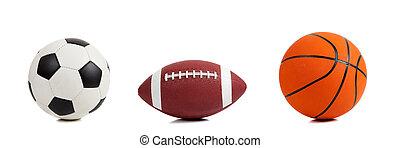 variado, deportes, pelotas, blanco