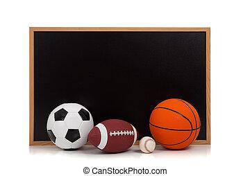 variado, deportes, pelotas, con, un, pizarra, plano de fondo