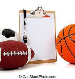 variado, deportes, pelotas, con, un, portapapeles