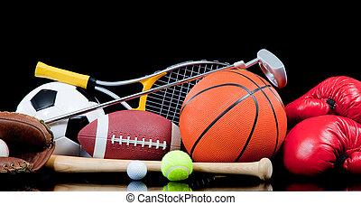 variado, equipo de deportes, en, negro