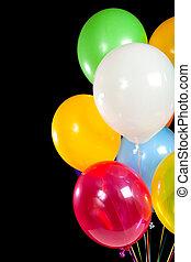 variado, globos, en, un, fondo negro