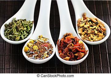 variado, herbario, salud, seco, té, en, cucharas